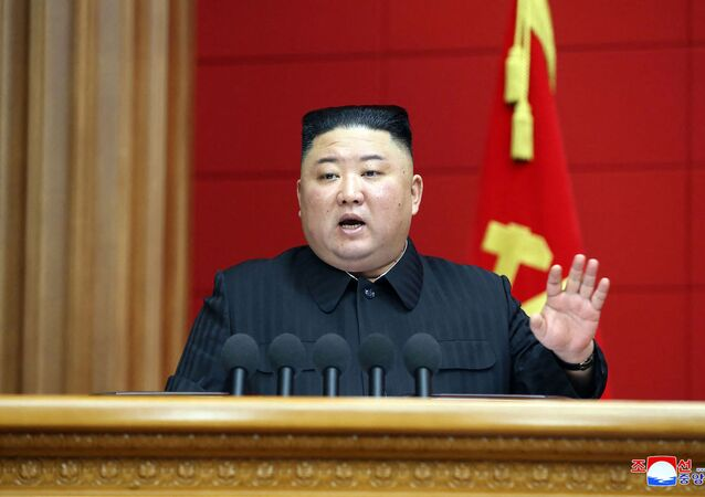 This picture taken on March 6, 2021 and released from North Korea's official Korean Central News Agency (KCNA) on March 7, 2021 shows North Korean leader Kim Jong Un speaking during the First Short Course for Chief Secretaries of City and County Party Committees in Pyongyang.