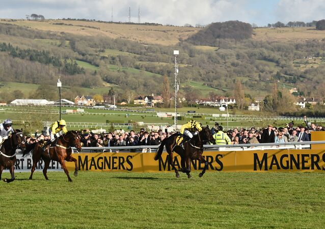 Jockey Paul Townend (1st-R) rides Al Boum Photo as he crosses the finish line to win the Gold Cup race on the final day of the Cheltenham Festival horse racing meeting at Cheltenham Racecourse in Gloucestershire, south-west England, on March 13, 2020.