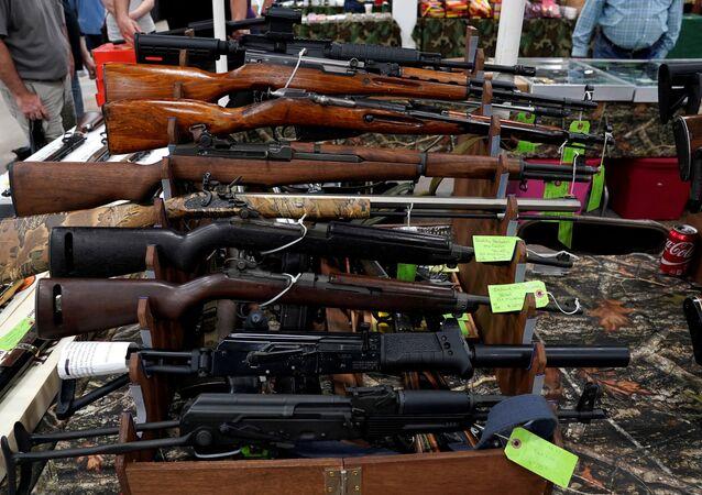 Rifles are displayed for sale at the Guntoberfest gun show in Oaks, Pennsylvania, U.S., October 6, 2017.