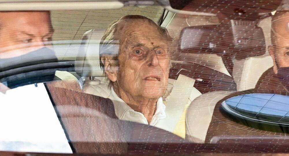 Britain's Prince Philip, Duke of Edinburgh leaves King Edward VII's Hospital in central London on March 16, 2021