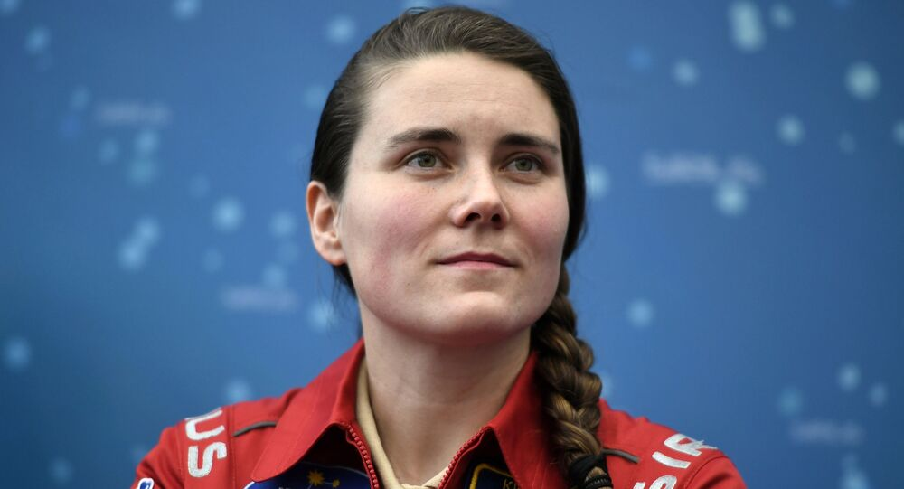 Experiment participant Anna Kikina at a news conference on the ground simulation of the SIRIUS-17 lunar expedition, Moscow