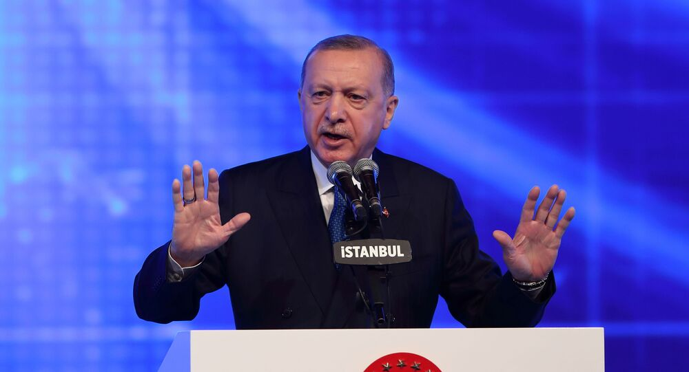 Turkish President Tayyip Erdogan speaks during a meeting to announce an economic reform package, in Istanbul, Turkey March 12, 2021.