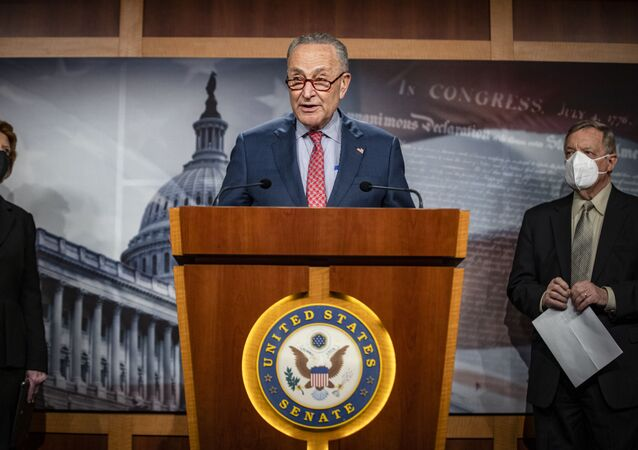 Senate Majority Leader Chuck Schumer, D-N.Y., speaks during a news conference at the Capitol in Washington, Tuesday, March 16, 2021.