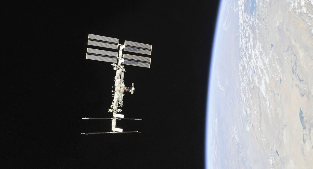 This file NASA handout photo obtained November 4, 2018 shows the International Space Station photographed by Expedition 56 crew members from a Soyuz spacecraft after undocking.