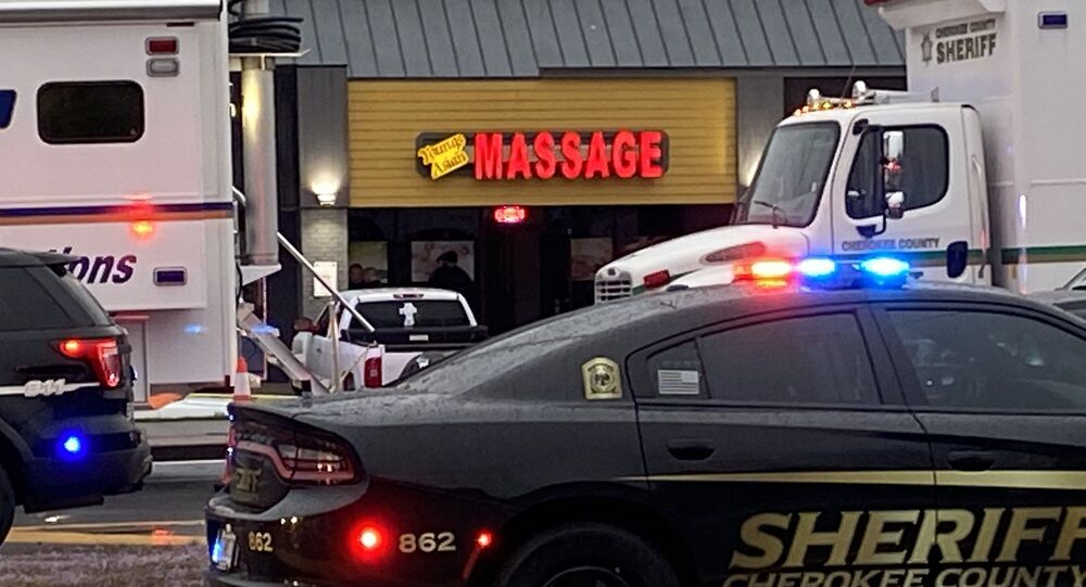 A photo from the crime scene at one of the spa shootings in the state of Georgia, posted by local media on Twitter February 16, 2021