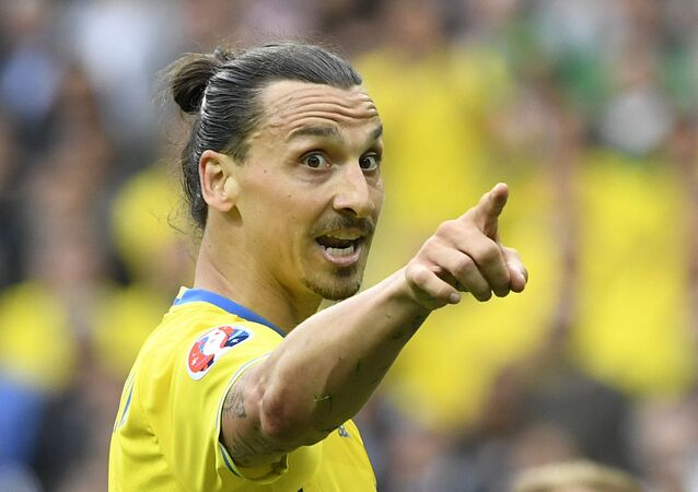 (FILES) Sweden's forward Zlatan Ibrahimovic points his finger during the Euro 2016 group E football match between Ireland and Sweden at the Stade de France stadium in Saint-Denis, near Paris