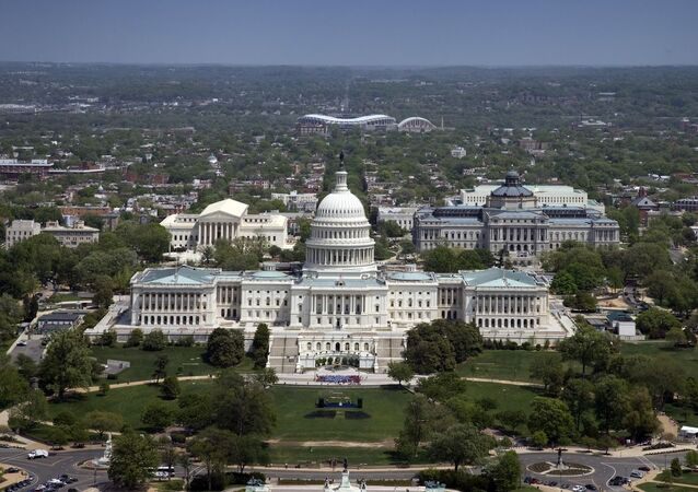 Aerial view, United States Capitol building, Washington, D.C