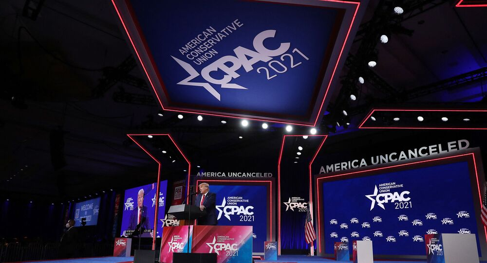 ORLANDO, FLORIDA - FEBRUARY 28: Former U.S. President Donald Trump addresses the Conservative Political Action Conference (CPAC) held in the Hyatt Regency on February 28, 2021 in Orlando, Florida