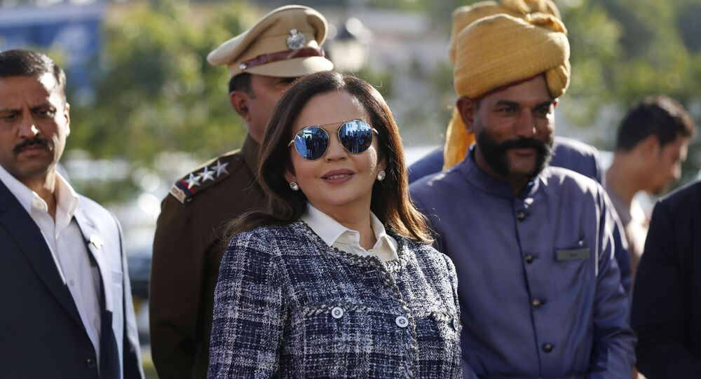 Nita Ambani, wife of Reliance Industries Chairman Mukesh Ambani, arrives at the IPL auction in Jaipur, India, Tuesday, Dec. 18, 2018. Reliance Industries is the owner of Mumbai Indians