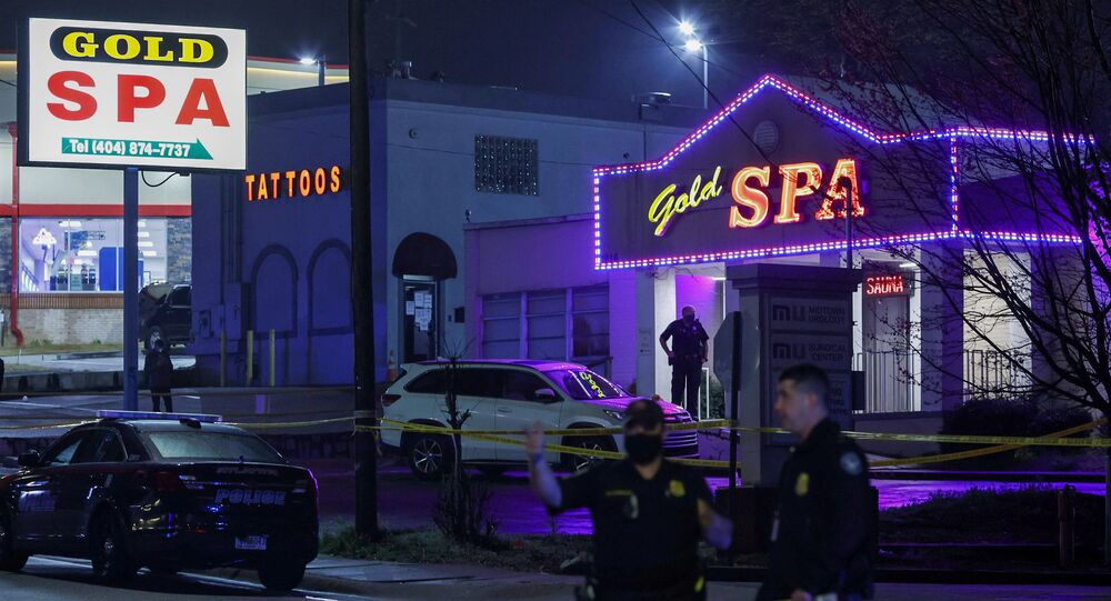 City of Atlanta police officers are seen outside of Gold Spa after deadly shootings at a massage parlor and two day spas in the Atlanta area, in Atlanta, Georgia, U.S. March 16, 2021. REUTERS/Chris Aluka Berry