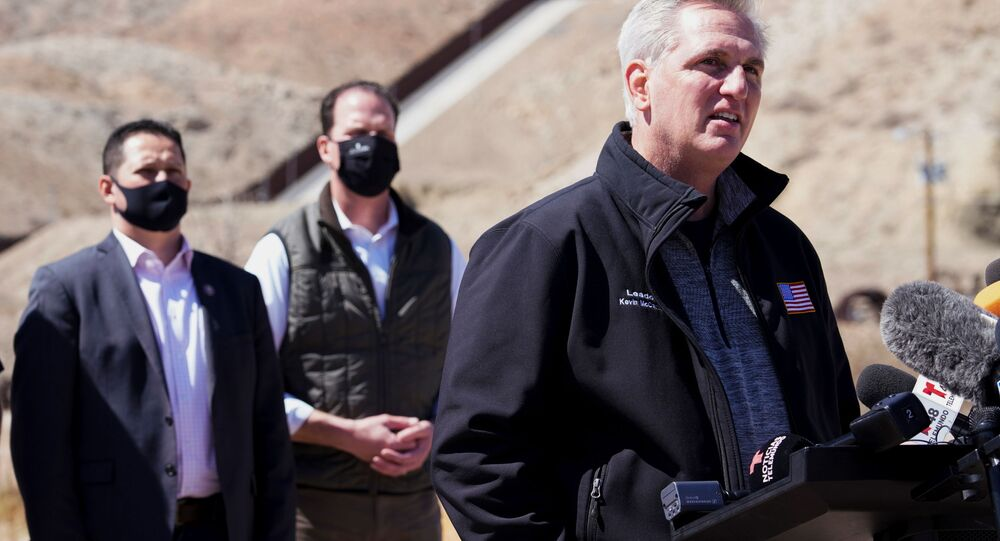House Minority Leader Kevin McCarthy speaks to the press during a tour for a delegation of Republican lawmakers of the US-Mexico border, in El Paso, Texas, U.S.,March 15, 2021.