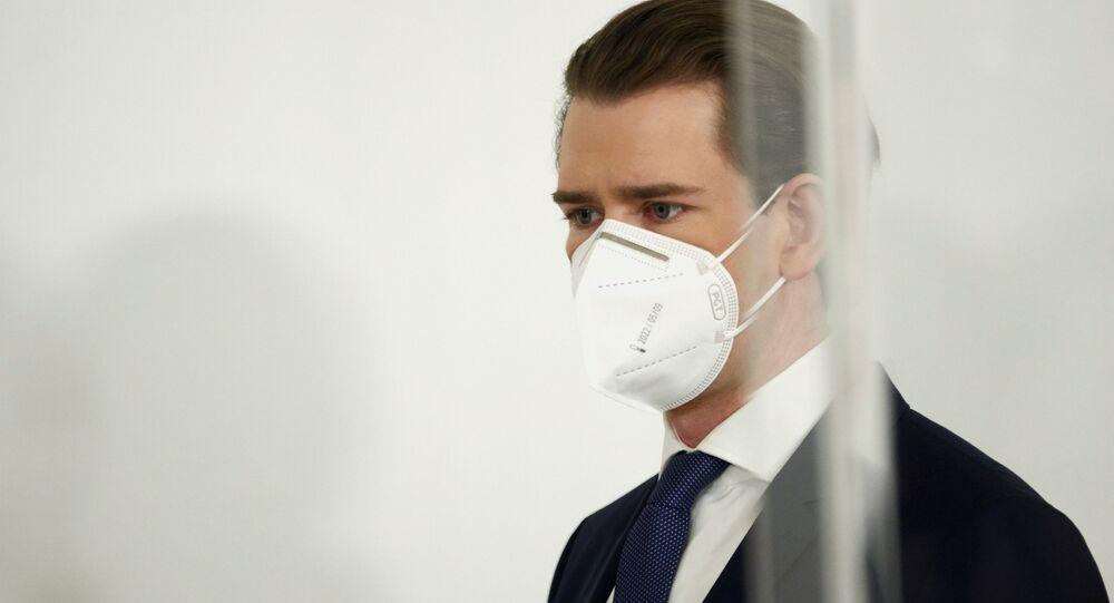Austria's Chancellor Sebastian Kurz attends a news conference, as the spread of the coronavirus disease (COVID-19) continues, in Vienna, Austria March 1, 2021.