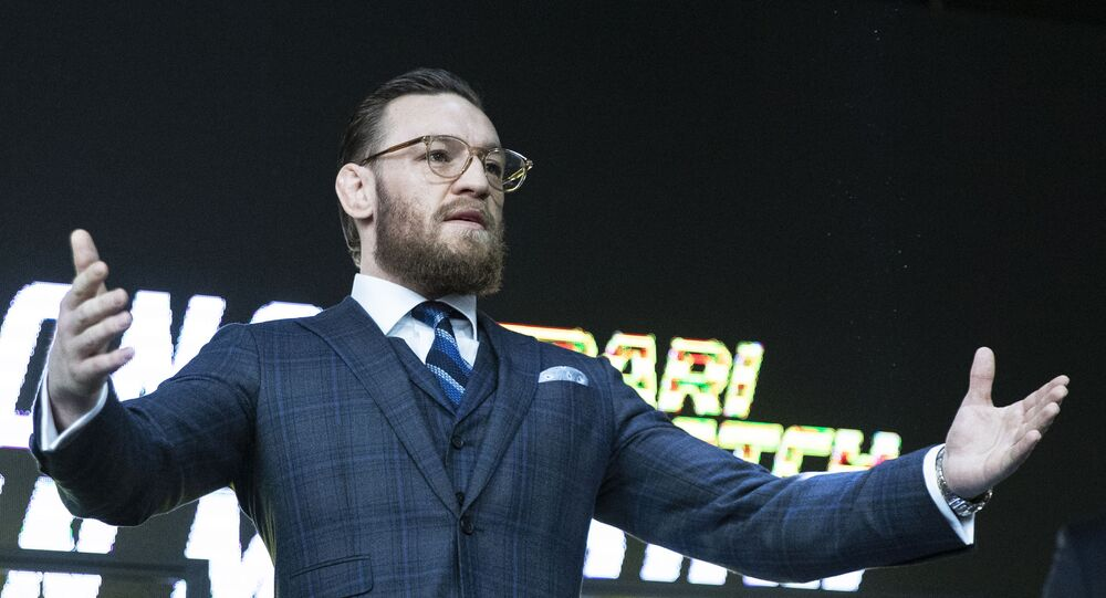 UFC fighter Conor McGregor gestures during a news conference in Moscow, Russia, Thursday, Oct. 24, 2019.