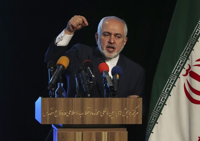 Iran's Foreign Minister Mohammad Javad Zarif addresses in a conference in Tehran, Iran, Tuesday, Feb. 23, 2021