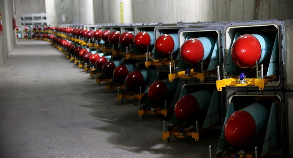 Iranian missiles are seen at an underground of the new missile cite of Iran's Revolutionary Guards naval unit at an undisclosed location in Iran, in this picture obtained on March 15, 2021