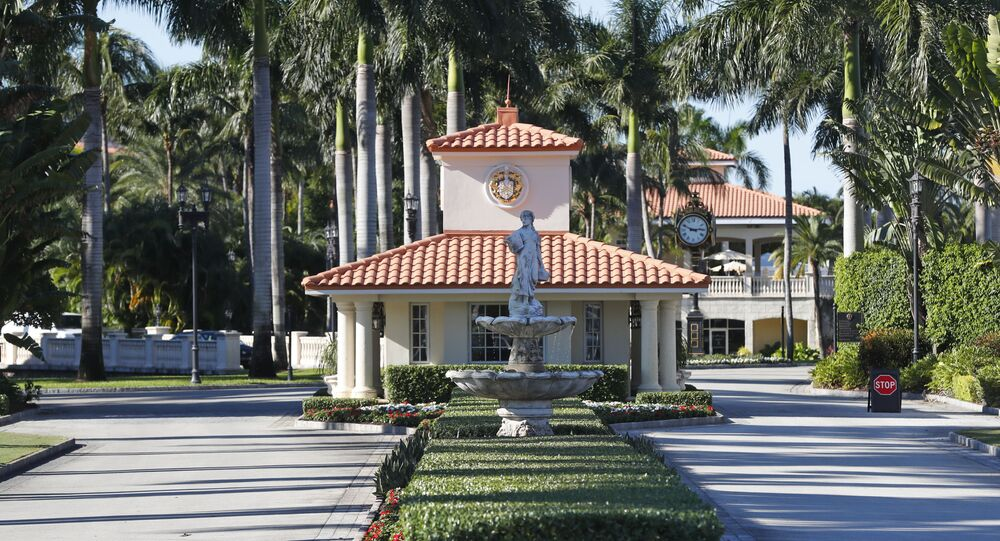 The entrance to the Trump National Doral resort is shown, Wednesday, Nov. 20, 2019, in Doral, Fla.