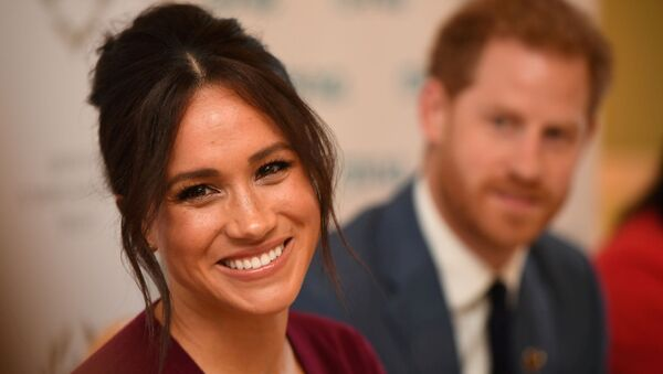 Britain's Meghan, the Duchess of Sussex, and Prince Harry, Duke of Sussex, attend a roundtable discussion on gender equality with The Queen's Commonwealth Trust (QCT) and One Young World at Windsor Castle, Windsor, Britain October 25, 2019. - Sputnik International