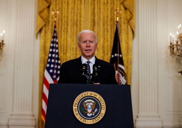 U.S. President Joe Biden speaks about the state of vaccinations during a coronavirus disease (COVID-19) response event in the East Room at the White House in Washington, U.S., March 18, 2021.