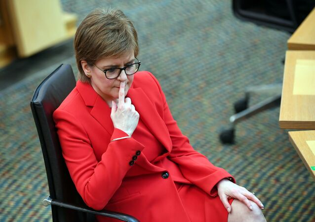 Scotland's First Minister Nicola Sturgeon attends First Minister's Questions at the Scottish Parliament in Edinburgh, Scotland, Britain March 18, 2021.