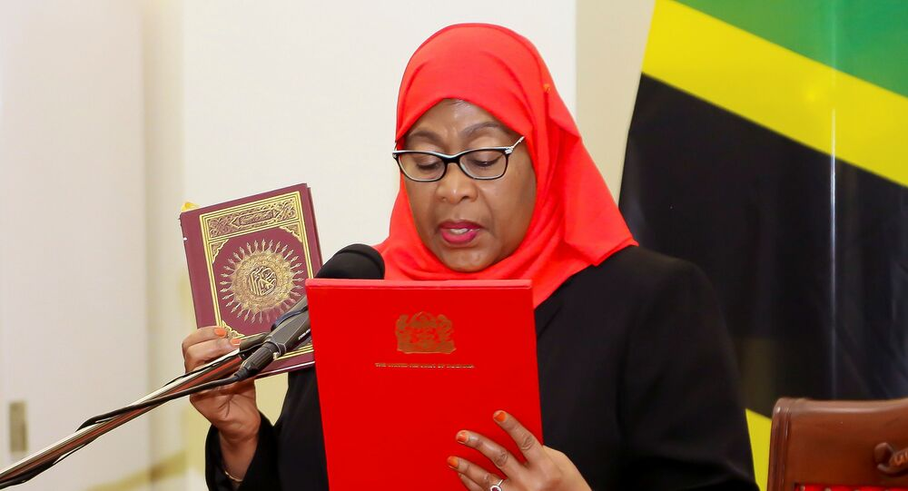 Tanzania's new President Samia Suluhu Hassan takes the oath of office following the death of her predecessor John Pombe Magufuli at State House in Dar es Salaam, Tanzania, 19 March 2021