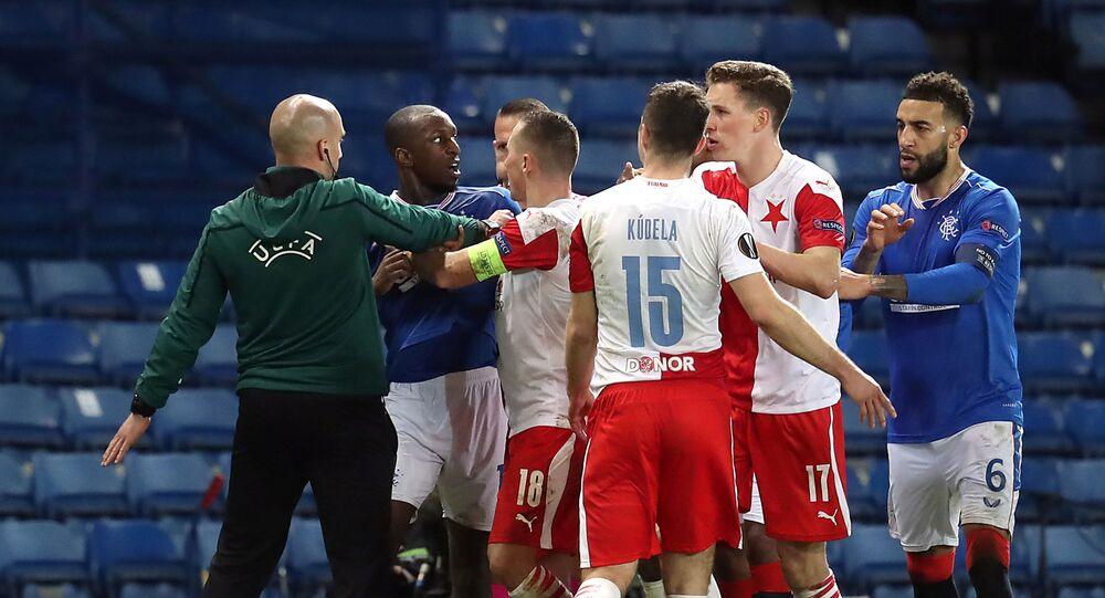 Rangers' Glen Kamara reacts angrily after Ondrej Kudela whispered a remark in his ear