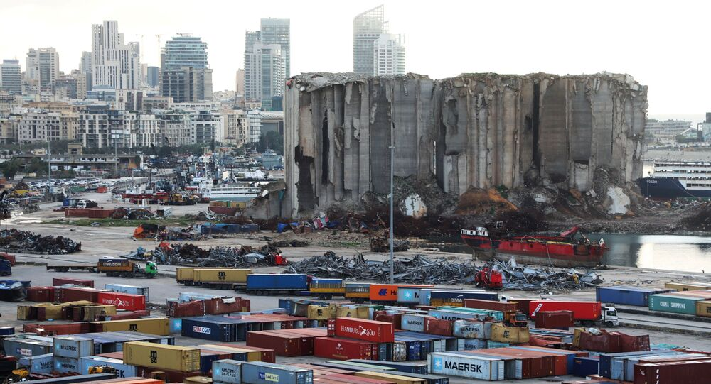 A view shows the site of the August 4 explosion at Beirut port, Lebanon February 18, 2021