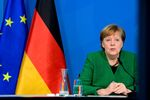 German Chancellor Angela Merkel attends a video-conferenced meeting with representatives of the German Association of Local Utilities of municipally determined infrastructure undertakings and economic enterprises in Berlin, Germany March 9, 2021.