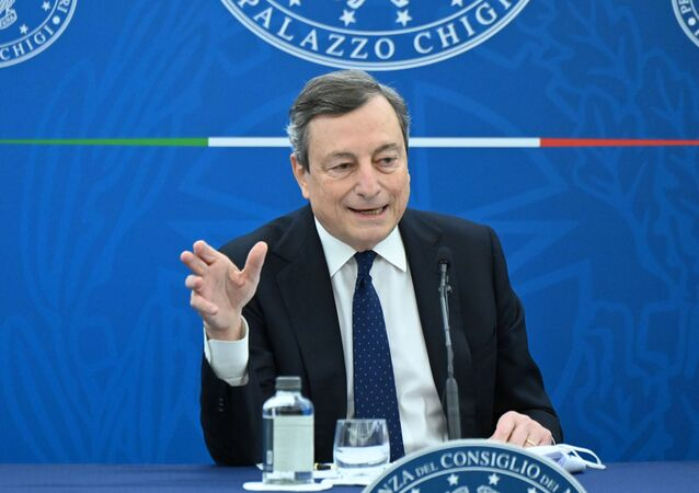 Italy's Prime Minister Mario Draghi speaks during a news conference after a cabinet meeting in Rome, Italy, March 19, 2021.