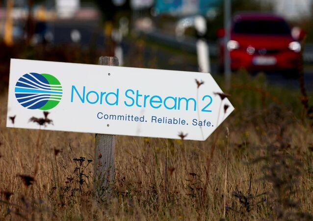 A road sign directs traffic towards the Nord Stream 2 gas line landfall facility entrance in Lubmin, Germany, September 10, 2020.