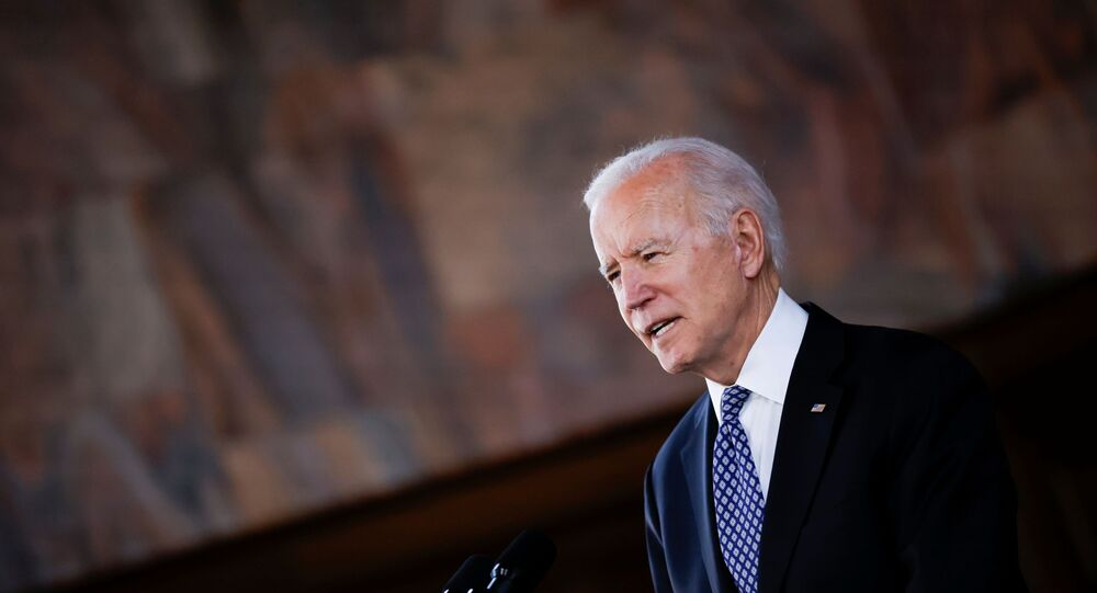 US President Joe Biden delivers remarks after a meeting with Asian-American leaders to discuss the ongoing attacks and threats against the community, during a stop at Emory University in Atlanta, Georgia, US,19 March 2021.