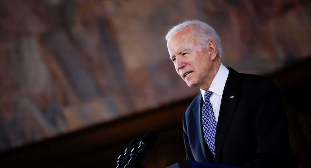 U.S. President Joe Biden delivers remarks after a meeting with Asian-American leaders to discuss the ongoing attacks and threats against the community, during a stop at Emory University in Atlanta, Georgia, U.S., March 19, 2021.