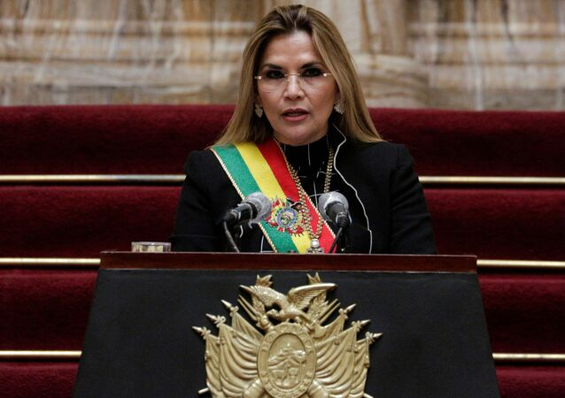 Bolivia's interim President Jeanine Anez speaks during a ceremony marking the 195th anniversary of the Bolivia foundation at the presidential palace, amid the coronavirus disease (COVID-19) outbreak, in La Paz, Bolivia, August 6, 2020.