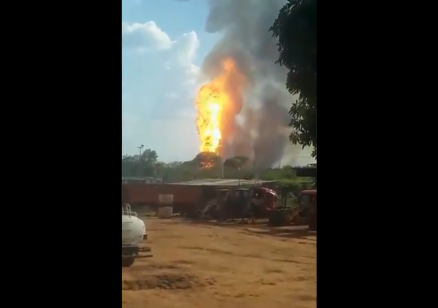 A screenshot from the video of the explosion at a gas pipeline in Venezuela posted on Twitter on March 21, 2021.