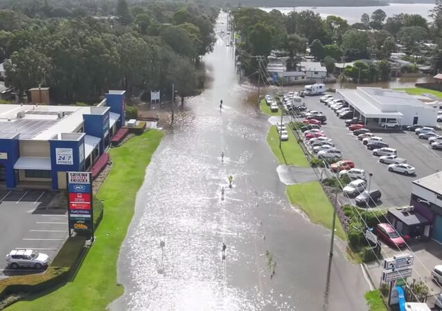 A still image taken from video shows a flooded area following heavy rains in Port Macquarie, New South Wales, Australia March 20, 2021