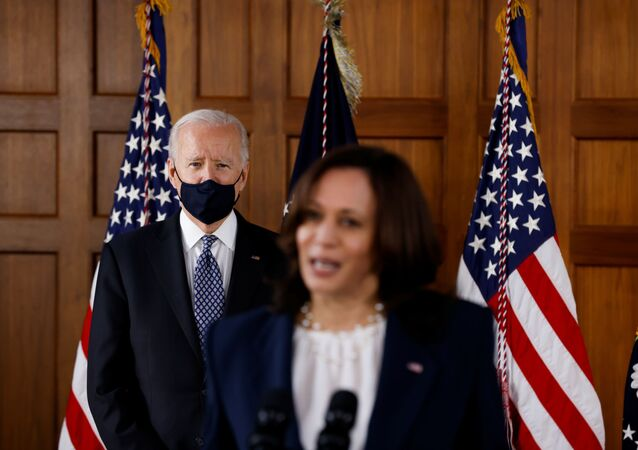 US President Joe Biden and Vice President Kamala Harris deliver remarks after a meeting with Asian-American leaders to discuss the ongoing attacks and threats against the community, during a stop at Emory University in Atlanta, Georgia, US, March 19, 2021