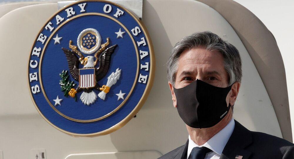 U.S. Secretary of State Antony Blinken arrives at Osan Air Base in Pyeongtaek, South Korea March 17, 2021.