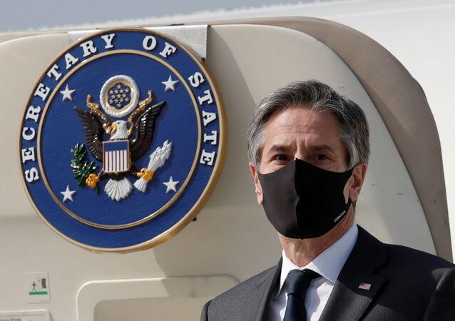US Secretary of State Antony Blinken arrives at Osan Air Base in Pyeongtaek, South Korea, 17 March 2021.
