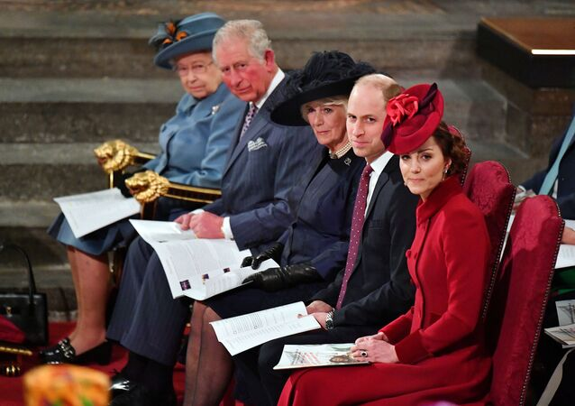 Britain's Queen Elizabeth II, Prince Charles, Camilla, Duchess of Cornwall, Prince Harry and Meghan, Duchess of Sussex, and Prince William and Catherine, Duchess of Cambridge attend the annual Commonwealth Service at Westminster Abbey in London, Britain March 9, 2020.