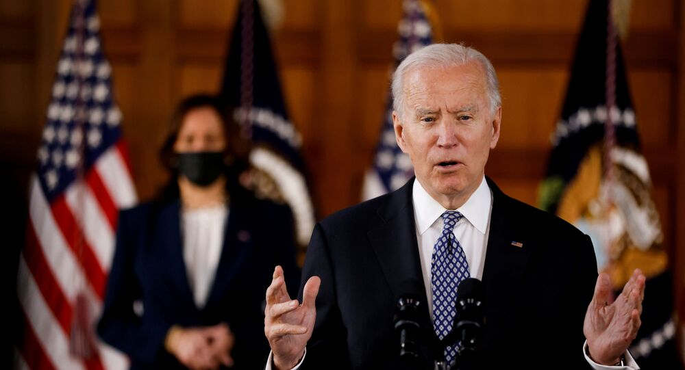 US President Joe Biden and Vice-President Kamala Harris meet Asian-American leaders to discuss the ongoing attacks and threats against the community, during a stop at Emory University in Atlanta, Georgia, US, 19 March 2021.
