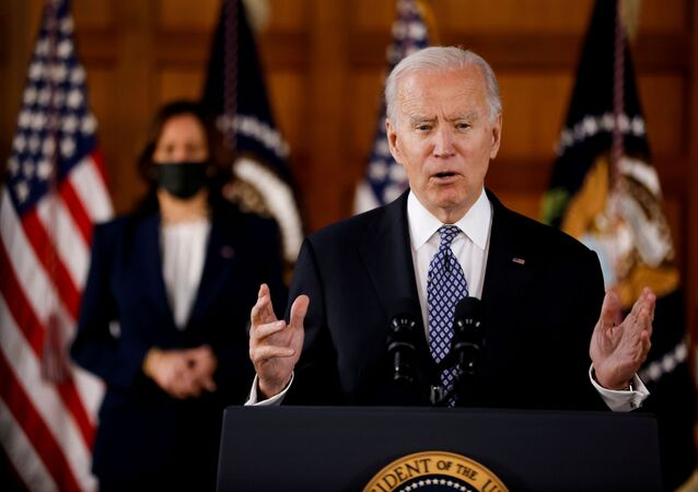 U.S. President Joe Biden and Vice President Kamala Harris deliver remarks after meeting with Asian-American leaders to discuss the ongoing attacks and threats against the community, during a stop at Emory University in Atlanta, Georgia, U.S., March 19, 2021.