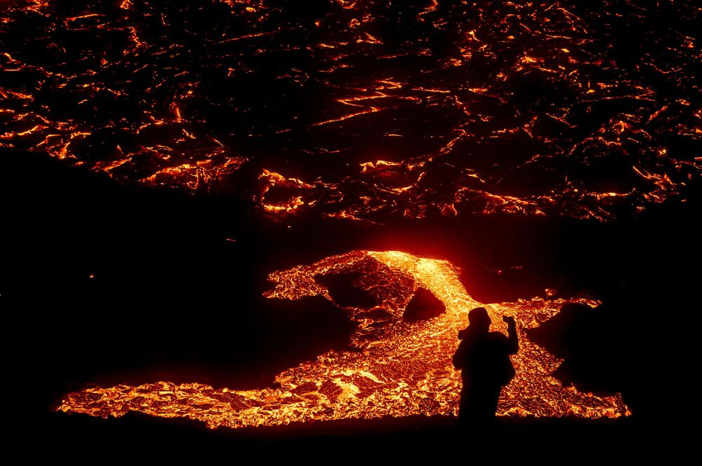Lava flows from a volcano in Reykjanes Peninsula, Iceland 21 March 2021.