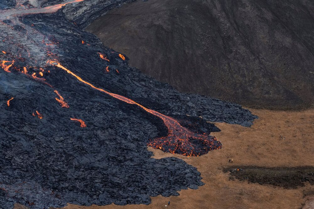 Lava flows from a volcano in Reykjanes Peninsula, Iceland 20 March 2021.