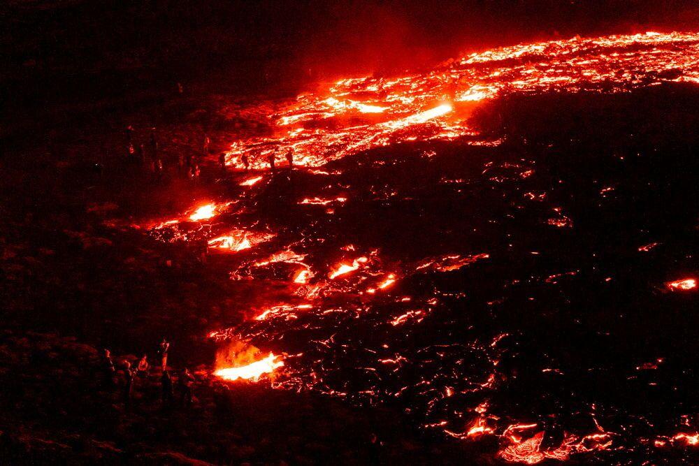 Volcanic eruption in Geldingadalur in Reykjanes peninsula in Iceland 20 March 2021.