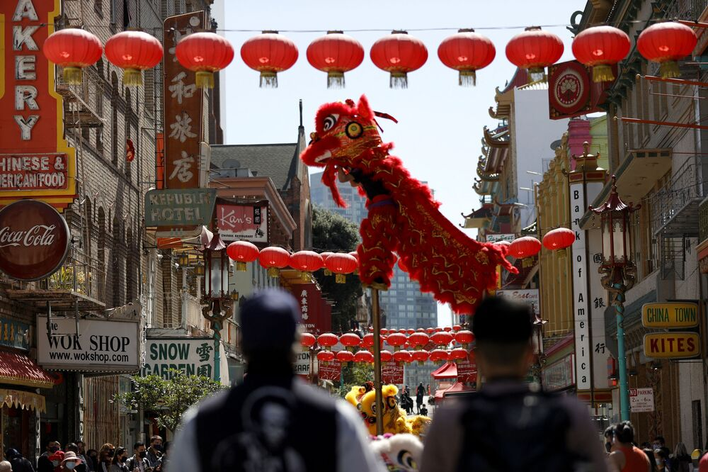 A Chinese Dragon Dance team performs on Grant Avenue in Chinatown on 20 March 2021 in San Francisco, California. Hundreds of people attended a vigil and healing gathering in San Francisco's Chinatown in the wake of a recent surge in hate crimes targeting Asians.