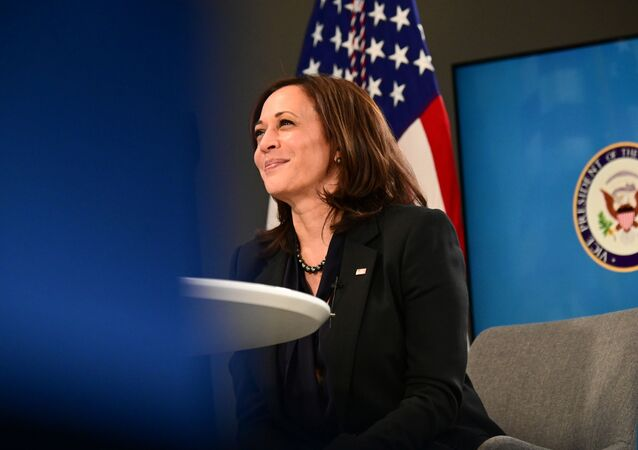 US Vice President Kamala Harris participates in a virtual meeting to discuss the newly-signed American Rescue Plan, COVID-19 relief legislation, at the White House in Washington, 11 March 2021
