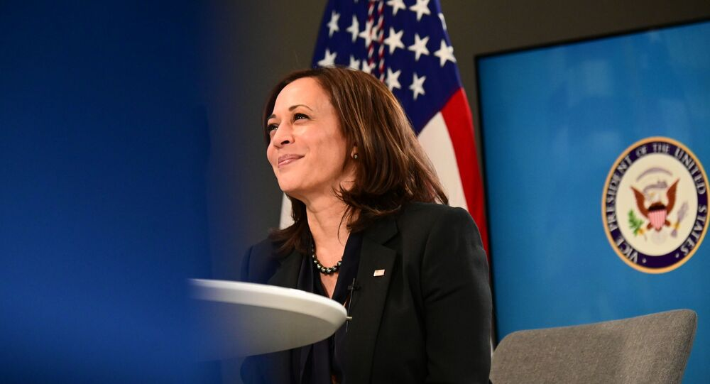 US Vice President Kamala Harris participates in a virtual meeting to discuss the newly-signed American Rescue Plan, COVID-19 relief legislation, at the White House in Washington, US, March 11, 2021
