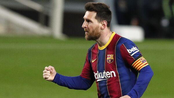 Soccer Football - La Liga Santander - FC Barcelona v SD Huesca - Camp Nou, Barcelona, Spain - March 15, 2021 Barcelona's Lionel Messi celebrates scoring their fourth goal  - Sputnik International