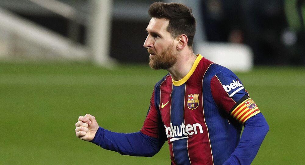 Soccer Football - La Liga Santander - FC Barcelona v SD Huesca - Camp Nou, Barcelona, Spain - 15 March 2021; Barcelona's Lionel Messi celebrates scoring their fourth goal