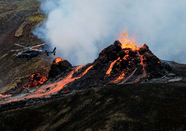 Lava flows from a volcano in Reykjanes Peninsula, Iceland March 20, 2021 in this picture obtained from social media. Picture taken March 20, 2021