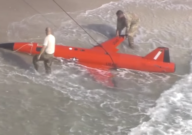 Residents of Boynton Beach, Florida, inspect a US Air Force BQM-167A aerial target system that washed ashore on March 19, 2021